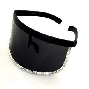 High Fashion Bling Visor Shields – Black Band Black w/ Gem